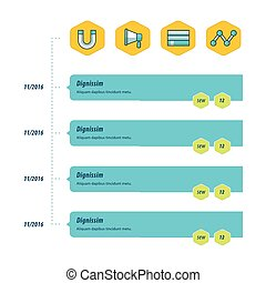 design timeline template bule, yellow and green color