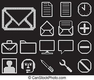 design., toile, ensemble, icônes