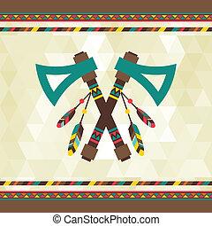 design., tomahawk, navajo, tło, etniczny