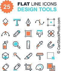 Design Tools - Abstract vector collection of flat line ...