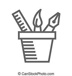 Design Tools Thin Line Vector Icon Isolated on the White Background.