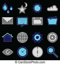 Design useful web icons on black background