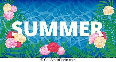 design., víz, háttér, nyár, blue virág, zöld, sea., felírás, bitófák, keret, pálma, around.