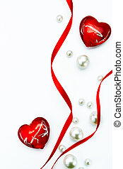 Design Valentine Day greeting card with red ribbon and love...
