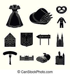 design., vecteur, allemagne, noir, repère, ensemble, pays, toile, stockage, collection, symbole, icônes, illustration.