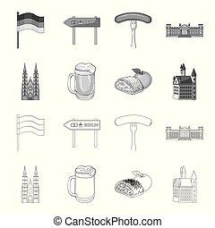 design., vecteur, allemagne, repère, contour, ensemble, pays, toile, stockage, collection, monochrome, symbole, icônes, illustration.