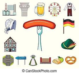 design., vecteur, allemagne, repère, dessin animé, ensemble, pays, toile, stockage, collection, symbole, icônes, illustration.