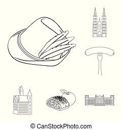 design., vecteur, allemagne, repère, ensemble, pays, toile, stockage, contour, collection, symbole, icônes, illustration.