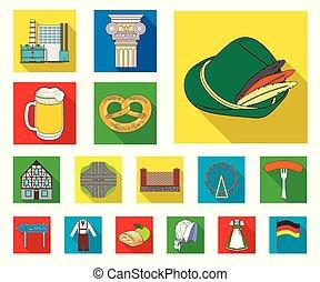 design., vecteur, allemagne, repère, plat, ensemble, pays, toile, stockage, collection, symbole, icônes, illustration.