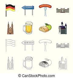 design., vecteur, dessin animé, allemagne, repère, ensemble, pays, toile, stockage, contour, collection, symbole, icônes, illustration.