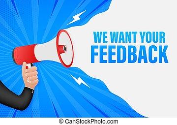 design., vecteur, porte voix, main, toile, ton, illustration., tenue, nous, stockage, banner., vouloir, feedback.