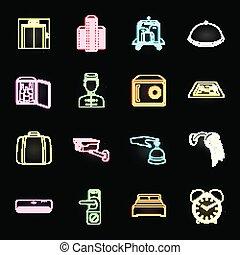design., vecteur, toile, ensemble, néon, confort, équipement, stockage, collection, hôtel, symbole, icônes, illustration.