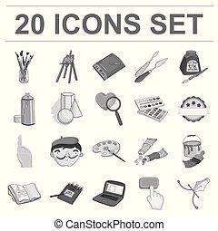 design., vector, artístico, dibujo, conjunto, tela, pintor, accesorios, acción, colección, monocromo, símbolo, iconos, illustration.
