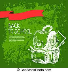 design., vector, hand, school, achtergrond, back, getrokken...