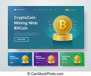 Design vector header with gold stacks of Bitcoin coins and elements of microcircuits.