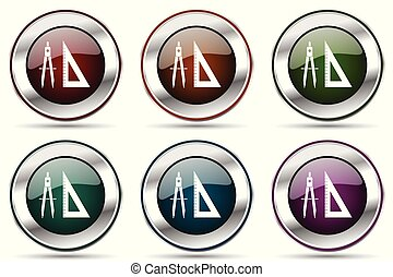 Design vector icon set. Silver metallic chrome border icons for web design and smartphone applications