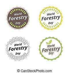 design., vektor, 21, march., logo, dag, illustration., skogsbruk