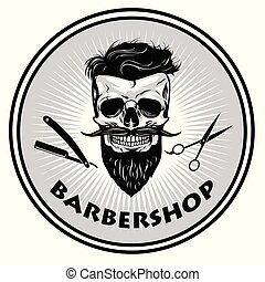 design, vektor, barberare, retro, mall, logo, frisersalong