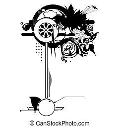design, vektor, blumen-, element, silhouette