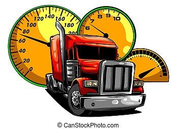 design, vektor, halv-, truck., illustration, tecknad film, konst
