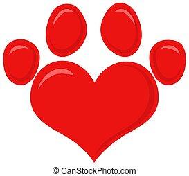 design., vermelho, pata, logotipo, impressão, apartamento, amor