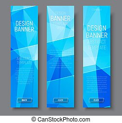 Design vertical banners with abstract blue  polygonal background