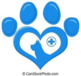 design., veterinário, pata, silueta, logotipo, impressão, apartamento, cão, crucifixos, amor