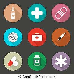 design., vetorial, ícones médicos, apartamento, ilustração