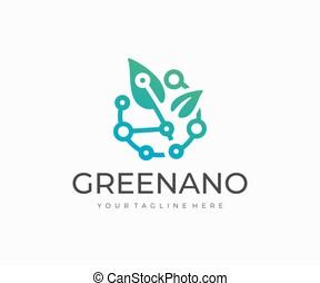 design., vettore, biotecnologia, logotipo, verde, disegno, tecnologia