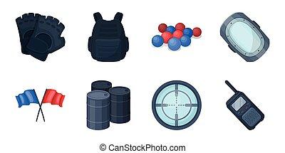 design., vettore, gioco, equipaggiamento, set, web, apparecchiatura, casato, paintball, collezione, squadra, simbolo, icone, illustration.