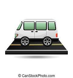 design, vit, skåpbil, väg, transport