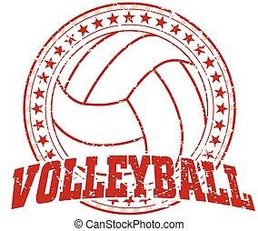 design, -, volleyball, weinlese