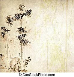 design, von, chinesisches , bambus bäume, mit, beschaffenheit, von, handmade papier