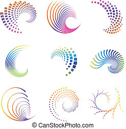 Set of nine abstract design creative wave icons. Colors easy to change in eps and ai format. These can be used for party, business, wave, motion, graphics, as design element, as a swirl etc.