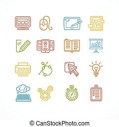 Design web site development theme colorful icon set. Vector