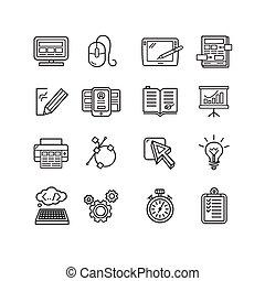 Design web site development theme icon set. Vector
