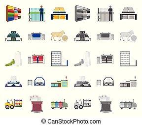design., wektor, rysunek, tekstylia, ikony, komplet, sieć, wyposażenie, pień, zbiór, przemysł, symbol, mono, illustration., tekstylny