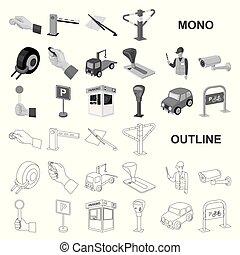 design., wektor, służba, parking, wozy, komplet, sieć, ...
