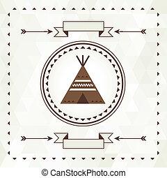 design., wigwam, navajo, tło, etniczny