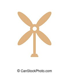 design wind turbine icon brown color