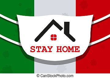 Design with abstract silhouette of a coronavirus. Flags of Italy and the roof of the house. Composition of Asian flu. Prevention of viral infections.
