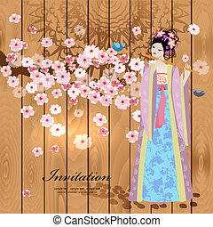 Design with beautiful oriental girl
