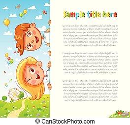 Design with children and summer background