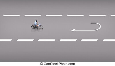 Design with cyclist on cycling path