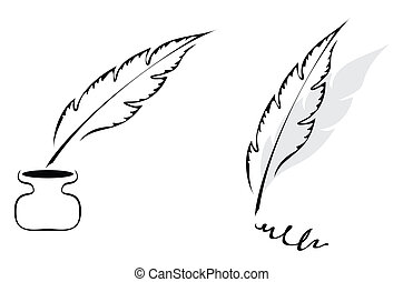 Design with feather - Set of symbols with feather isolated ...