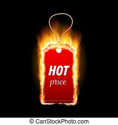 Design with Fire. Hot Sale. Hop price tag. Vector illustration.