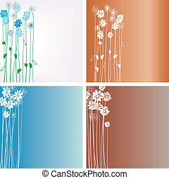 Design with flowers on a color back