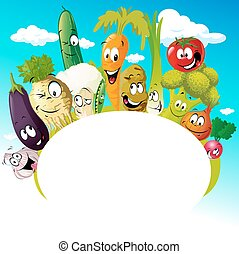 design with funny vegetable cartoon