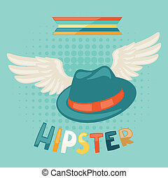 Design with hat and wings in hipster style.