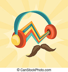 Design with headphones and mustache in hipster style.